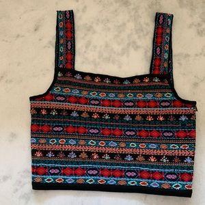 Zara knit beaded cropped tank